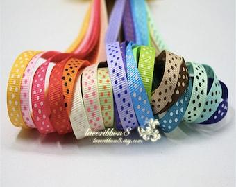 """100 Yards - 3/8"""" Polka Dots Grosgrain Ribbons, Blue Pink Purple Green Ribbon Tiny Polka Dots, Ribbon Supplier Wholesales"""