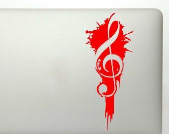 Treble clef ink splat die cut vinyl decal for cars, trucks, suv window decals, laptop sticker, etc.