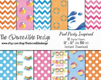 Pool Party Inspired digital paper pack for scrapbooking, Making Cards, Tags and Invitations, Instant Download