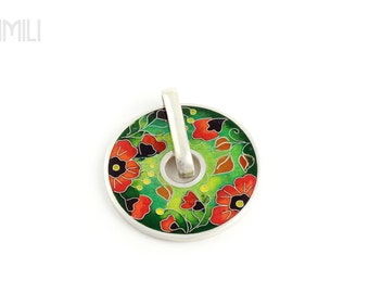 Pendant with Poppies with Cloisonné Enamel in Silver