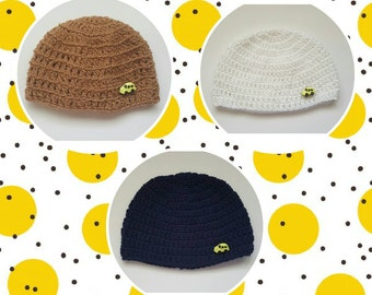 Baby Boy Crochet Hat. White crochet hat. Brown crochet hat. Blue crochet hat. Crochet hat with button. Baby Shower Gift. Photo Prop. Boy hat