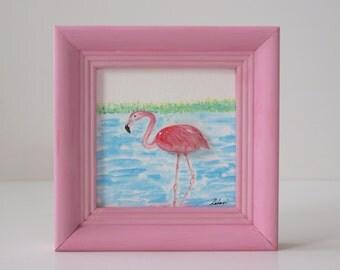 3D-Steinbild with Ölfarbegemalt gift, birthday, unique, handmade, decoration, Flamingo, pink, green, blue, mother's day, Valentine's day