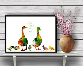 Duck Family, Ducklings, Colorful Birds,Watercolor Room Decor, Poster, Animal, Nature, Poultry, gift Instant Download