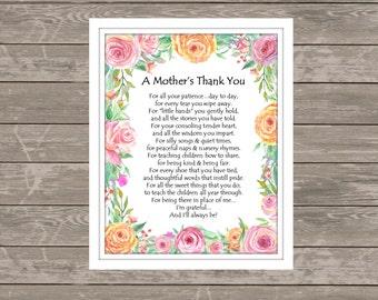 A MOTHER'S THANK YOU poem, Childcare Thank You-Teacher Gift-Nanny Gift, Babysitter Gift, Teacher Thank You, Daycare Thank You-8x10 and 11x14