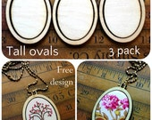 3 Mini Hoop Tall Oval Pendant Embroidery Blanks - Frame Necklace Craft Supply Jewelry wood