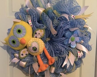 Baby Boy Owl Wreath