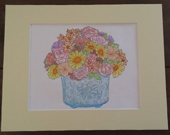 Floral 8x10 watercolor pencil art