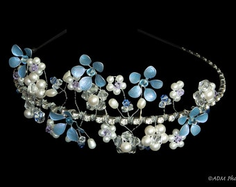 Asymmetrical Crystal and Lacquer Flower Headband