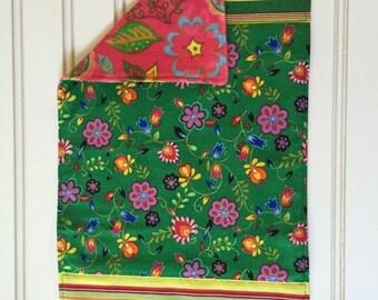 vibrant flower  burp cloth-reversible