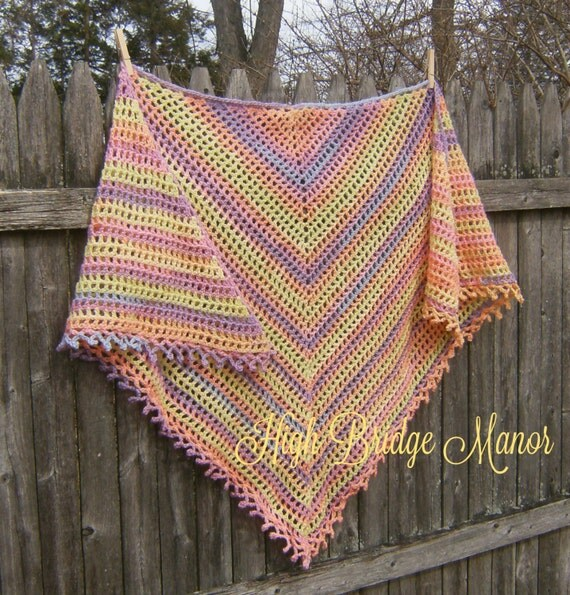 Crochet shawl wrap for spring and summer. Soft muted