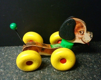 """Fisher Price """"Wobbles"""" The Dog No. 130 - 1964"""