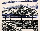 Lino print landscape: Second Valley causeway