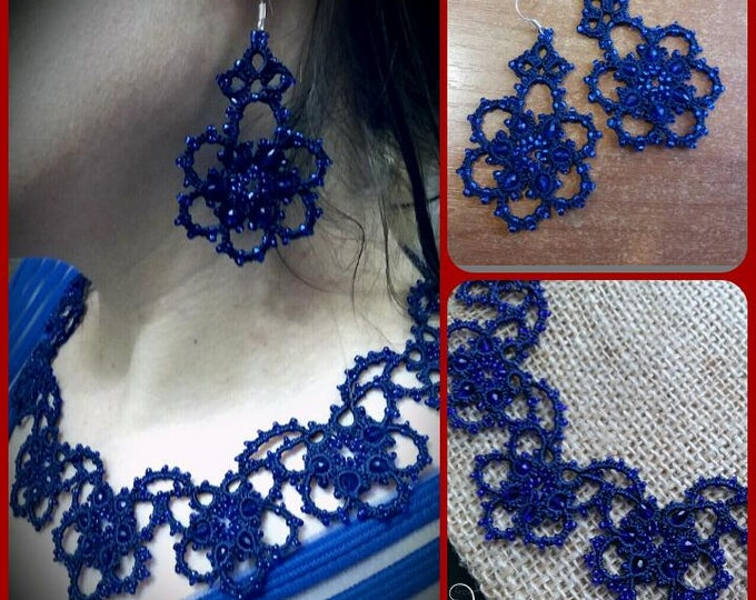 Bridal Tatting - Frivolite Necklace and Earrings Set - Tatted Lace