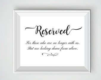 Reserved Wedding Sign, Reserved Seating Sign, Wedding Ceremony Sign, Personalized Wedding Signs, Wedding Heaven Sign,