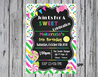 Candy Party Invitation, Candy Birthday Invitation