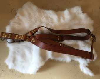 Brown Leather Step-in Dog Harness