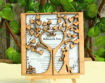Love Tree Invitation, Wood Wedding Invitation, Wedding Invitation, Wood Invitation, Unique Wedding Invitation, Rustic Invite