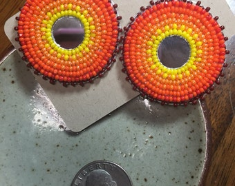 Native American Beadwork ... Post Earrings ...Sunburst with mirror center