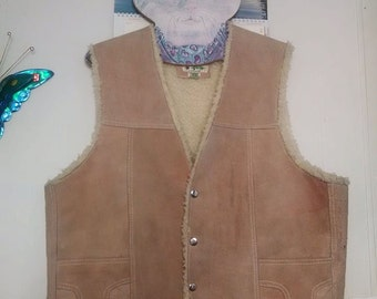 Men's Vintage Western Suede Sand Colored Vest!