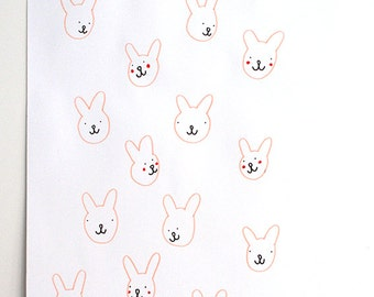 rabbits, hand drawn print one of a kind