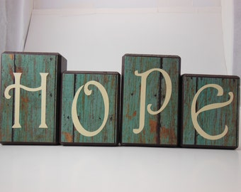 Hope Wood Block Set with Rustic Background #1