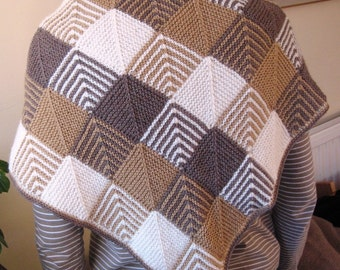 Hand-knitted Small Shawl in Domino Knitting, in brown, cream and sand