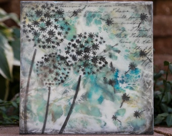 "10"" x 10"" Three Wishes - Original Encaustic Mixed Media Painting"