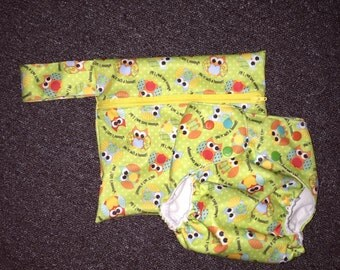 Playful Owls Cloth Diaper and Wet Bag