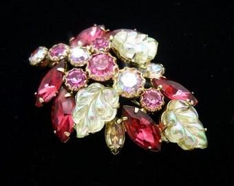 Vintage SIGNED Weiss Pink Rhinestone Brooch, Gold Brooch, Pink Brooch, Antique Brooches, Weiss Jewelry, Mid Century Jewelry, 50s