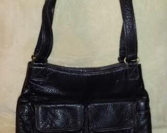 Vintage A. Gianetti Genuine Black Pebbled Leather Purse Handbag Shoulder Bag