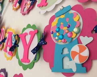 Candy land theme birthday banner