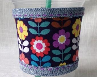 Cup sleeve, retro spring flowers, coffee cozy