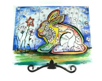 "Rabbit painting, rabbit print, 8x10"", Bunny painting, rabbit art print, of watercolor by Pango Fine Art"