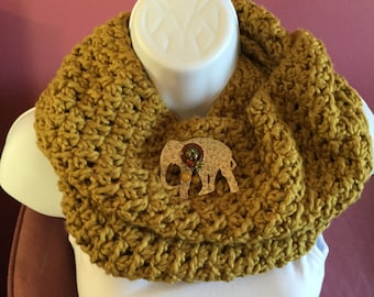 Olive, mustard, infinity scarf