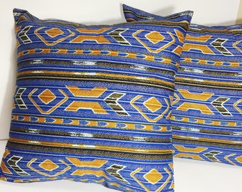 Blue and Gold Throw Pillow Cover // Black and Blue Decorative Pillow // African Print Accent Pillow // Metallic Print 18 inch Throw Pillow