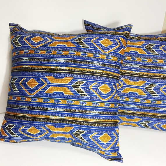 Blue and gold throw pillow cover black and blue decorative for Blue and gold pillows