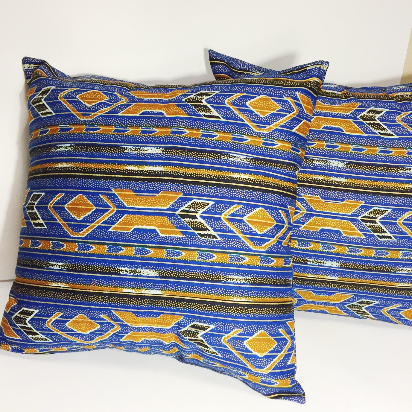 Blue and Gold Throw Pillow Cover // Black and Blue Decorative Pillow // African Print Accent ...