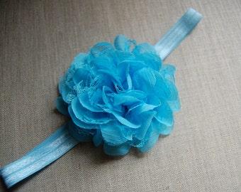 FOE headband with blue chiffon flower
