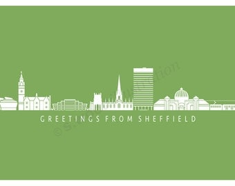 Sheffield Silhouette Greeting Card - Green