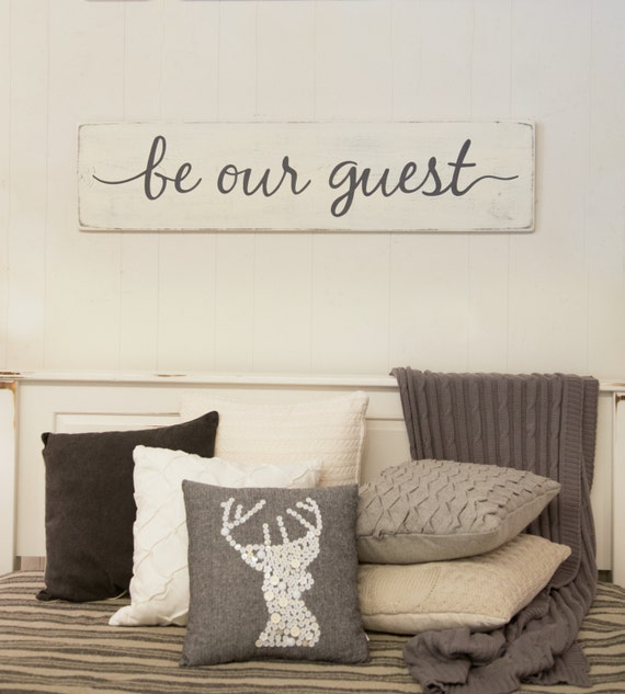 Be our guest sign guest room sign bedroom rustic wood for Room decor signs