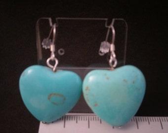 Turquoise Semi precious heart earrings on sterling silver