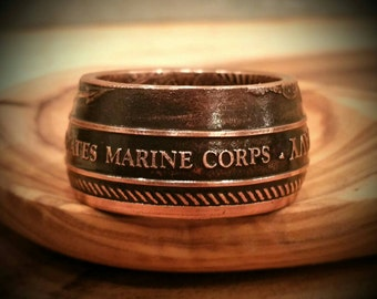 US Marine Corps Ring - Hand Forged .999 Pure Copper USMC Coin Ring