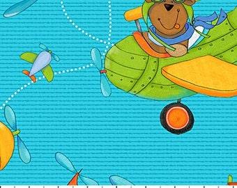 Northcott - Baby Zoom - Flying High - Teddy Bear - Blue/Teal Flying Teddy Fabric