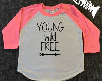Toddler Girls Shirt, Young wild and free Toddler Boys shirt, Raglan baseball shirt