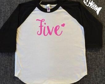 Birthday Girl Shirt, toddler girl shirt, 5 years old, 5th birthday