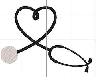 Heart steth 4x4 5x7 6x10