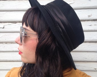 100% Wool Black Bandit Hat with Chin Strap and Black Band RESERVED