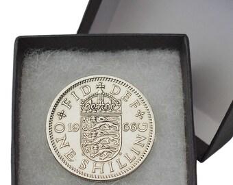 Polished one Shilling Coin English/Scottish 1947-1967 - gift Boxed - Free UK p+p - Perfect Gift Birthday Wedding Retirement Bespoke