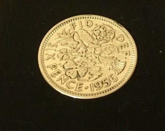 60th birthday gift 1957 Lucky Sixpence Coin