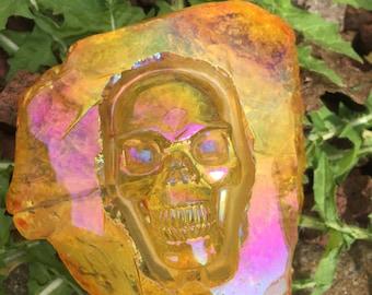 Tangerine Sunset-Esque  hand carved Aura Skull FREE US SHIPPING